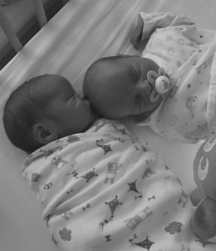 Baby twins in a cot next to each other