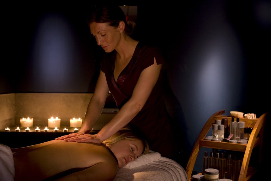 woman has a massage in the Well Spa