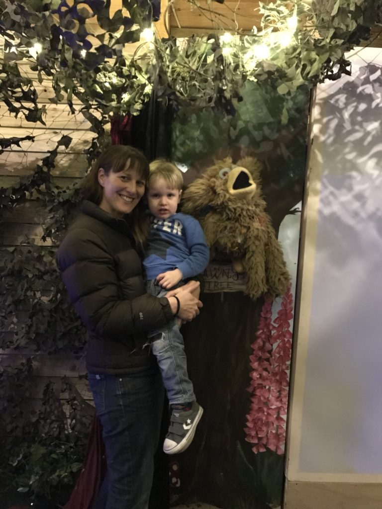 Mum and toddler at the shadow puppet show at Bluestone