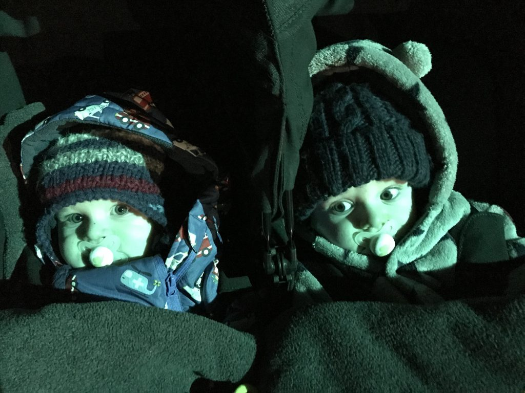 Baby twins wrapped up in their buggy at the Winter Lights Festival at Bluestone