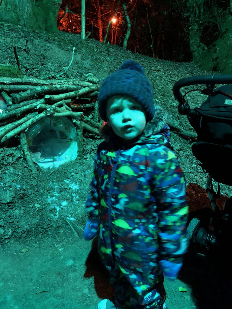 Toddler at the Winter Lights Festival at Bluestone