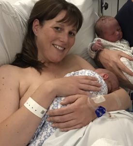 Mum after giving birth to twins