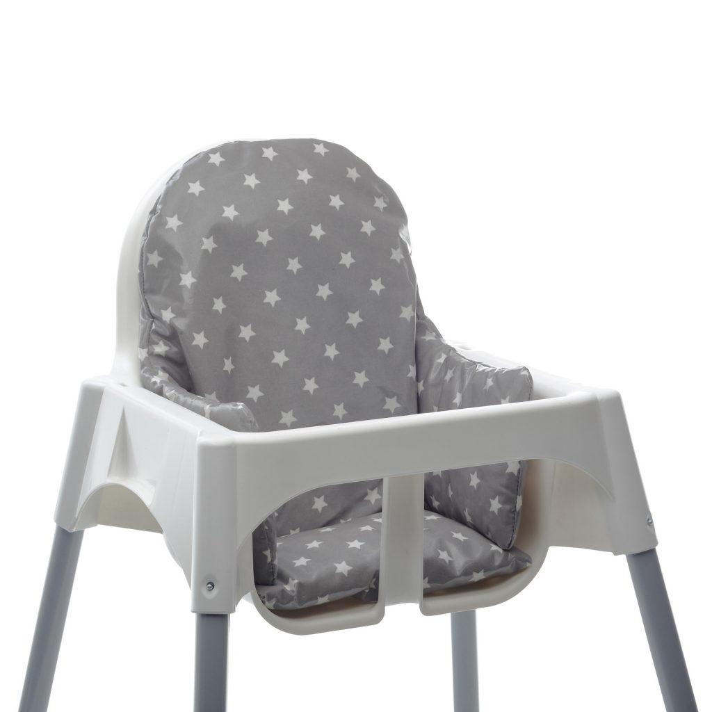 Messy Me grey high chair cushion in an Ikea high chair