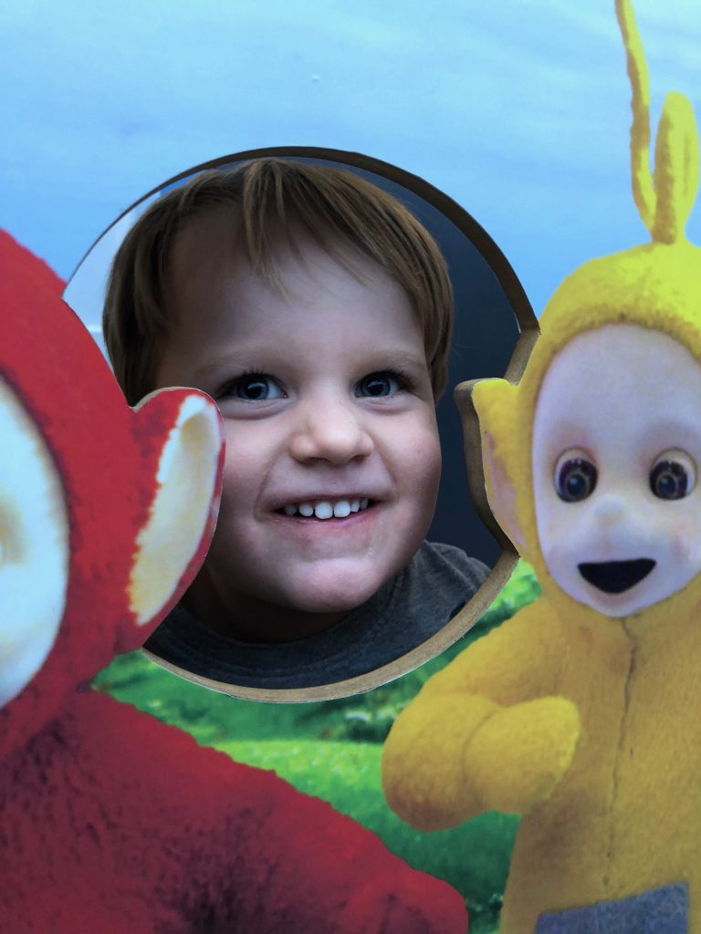 Toddler and teletubbies at Butlins from list of UK family holidays ideas