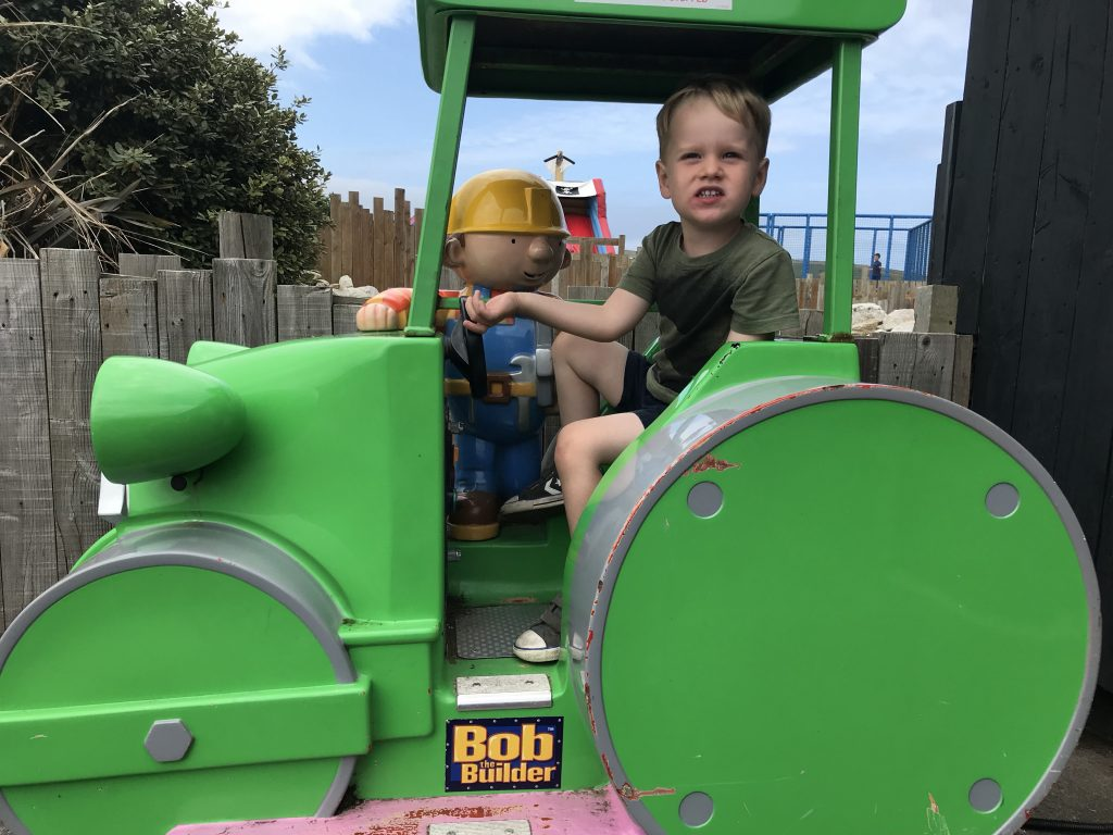 Toddler on a tractor ride at Trevornick