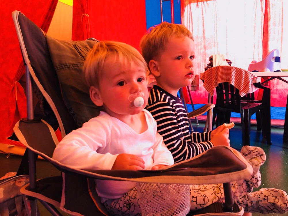 Brothers in a Eurotent at Trevornick