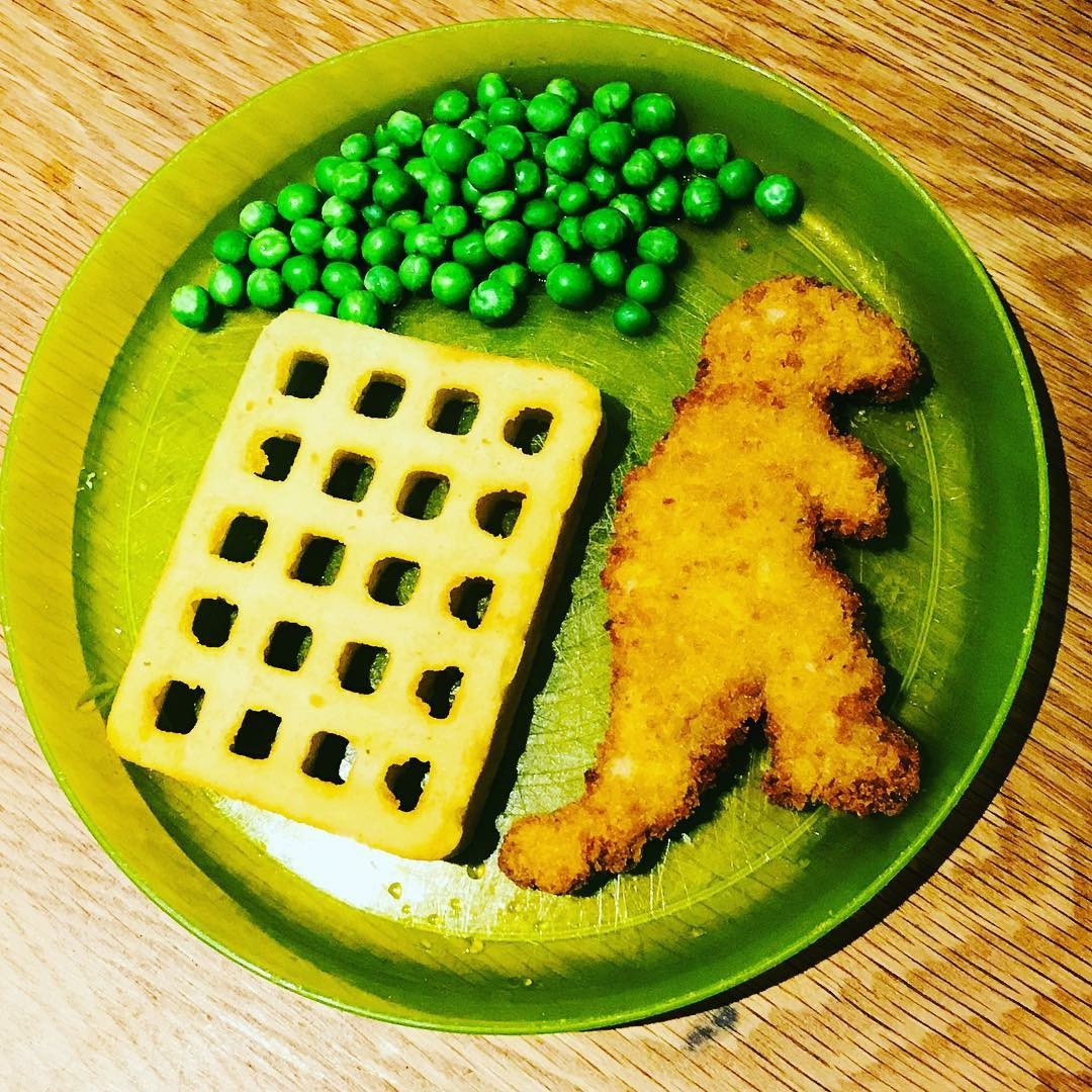 turkey dinosaur and waffles