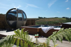 Tredethick hot tub garden