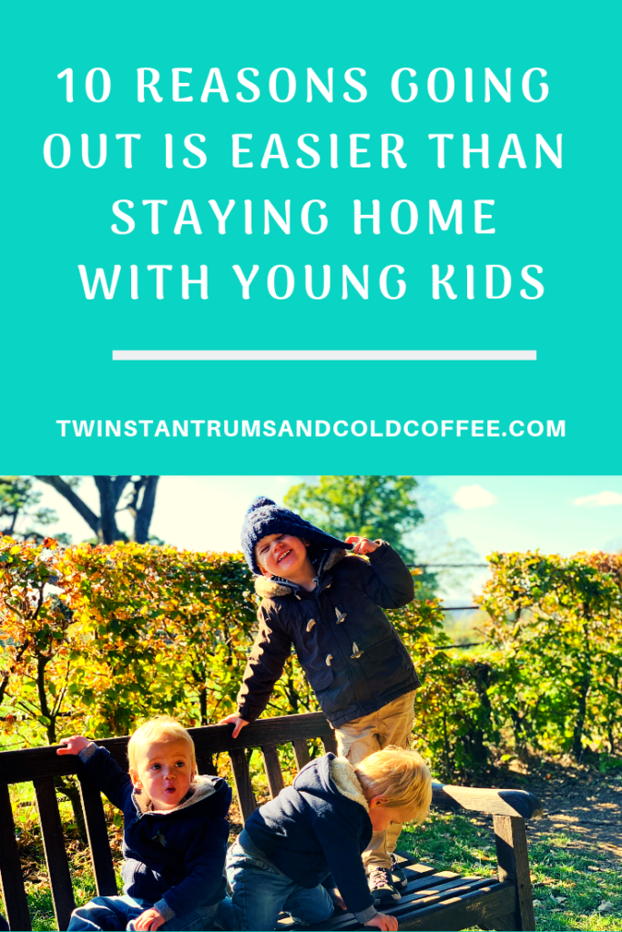 Pinterest pin for 10 reasons going out is easier than staying home with young kids