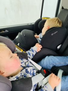 Twins and toddler asleep in car