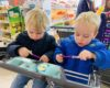 Twins play with Calpol syringes in Lidl for the #ItsOK parent bloggers linky