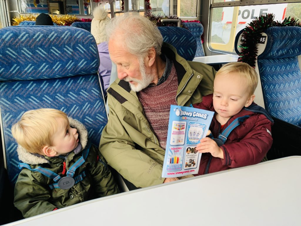 Grandad and twins on the santa train