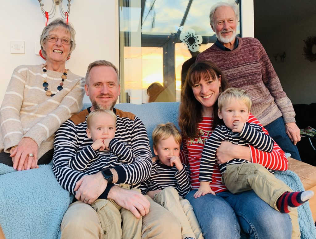 Twins, toddler and us with their grandparents