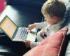 three year old on laptop
