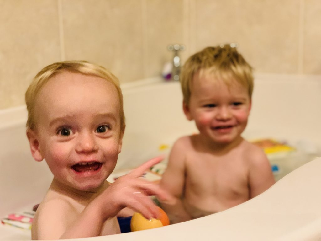 My boys love a bath, but it takes double the time.