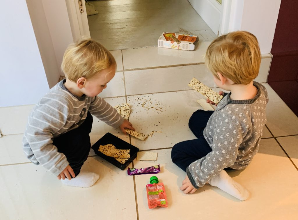 Twins entertain each other