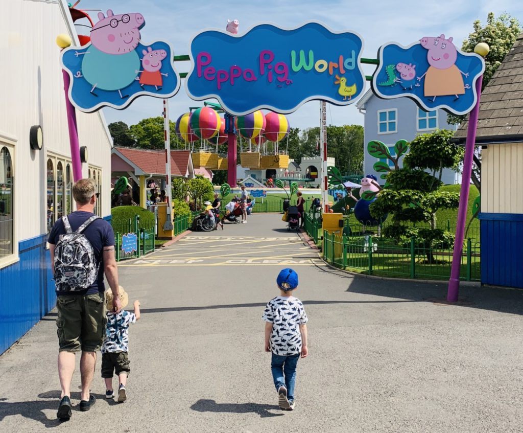 Boys and Daddy heading into Peppa Pig World at Paultons Park