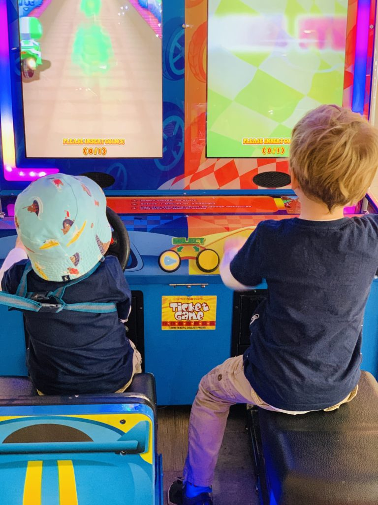 Brothers enjoying the arcade at Rockley Park