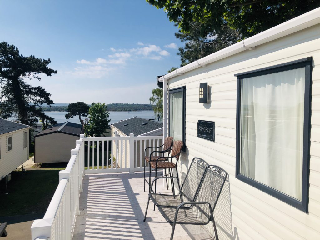 Our decking and view from the caravan at Rockley Park