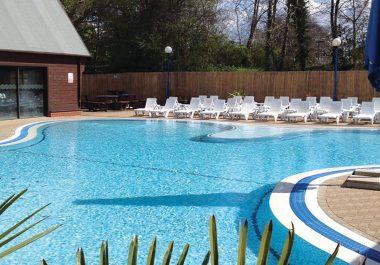 Outdoor pool at Sandy Balls