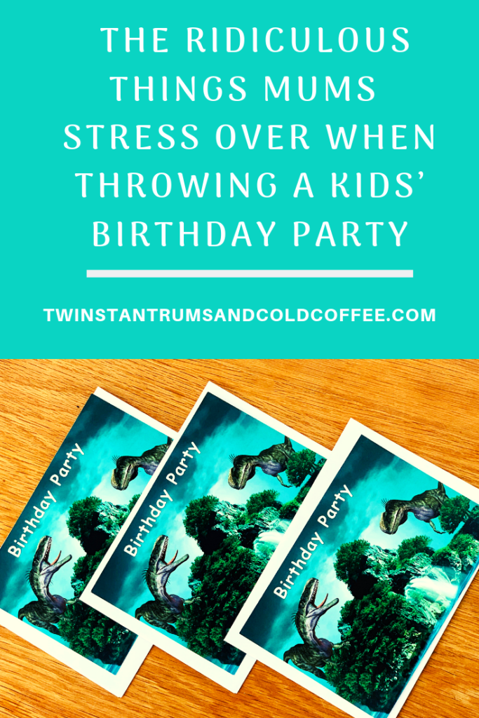 PIN image of dinosaur birthday party invites, one of many things mums stress over when throwing a party