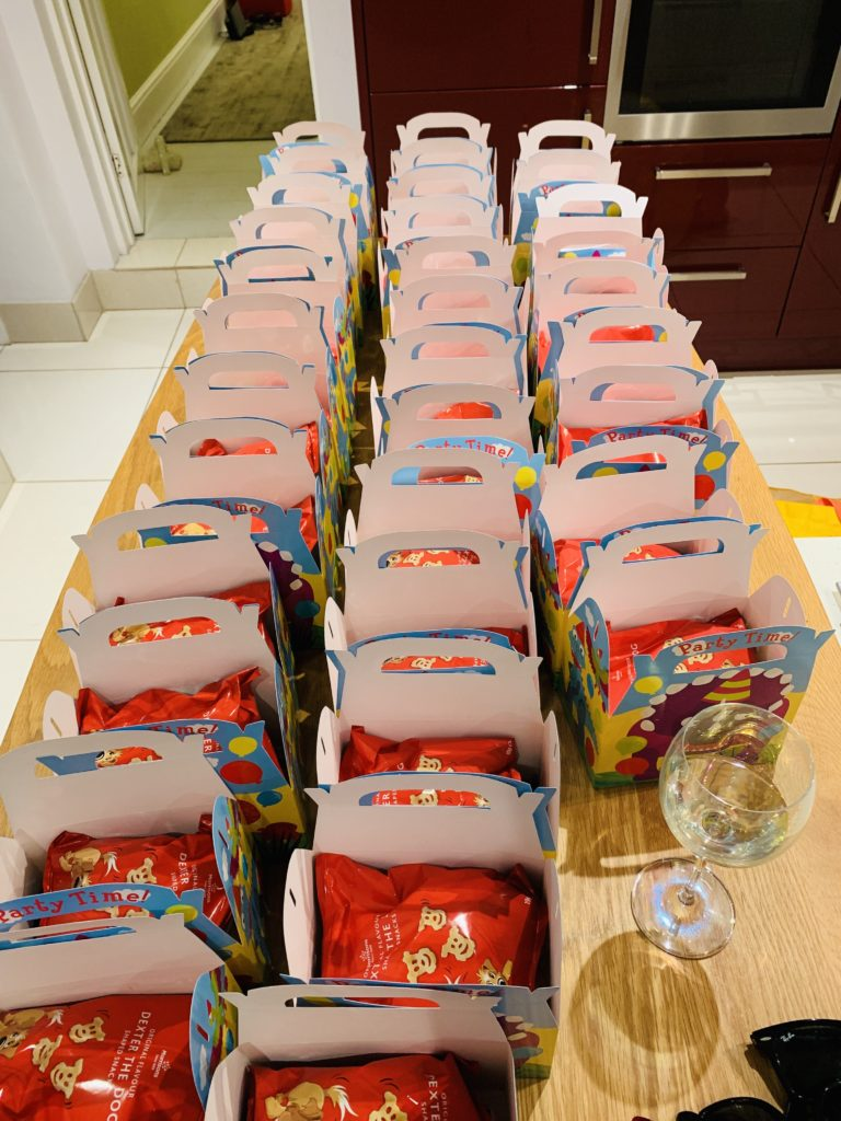 Preparing 32 party food boxes for a kids' birthday party