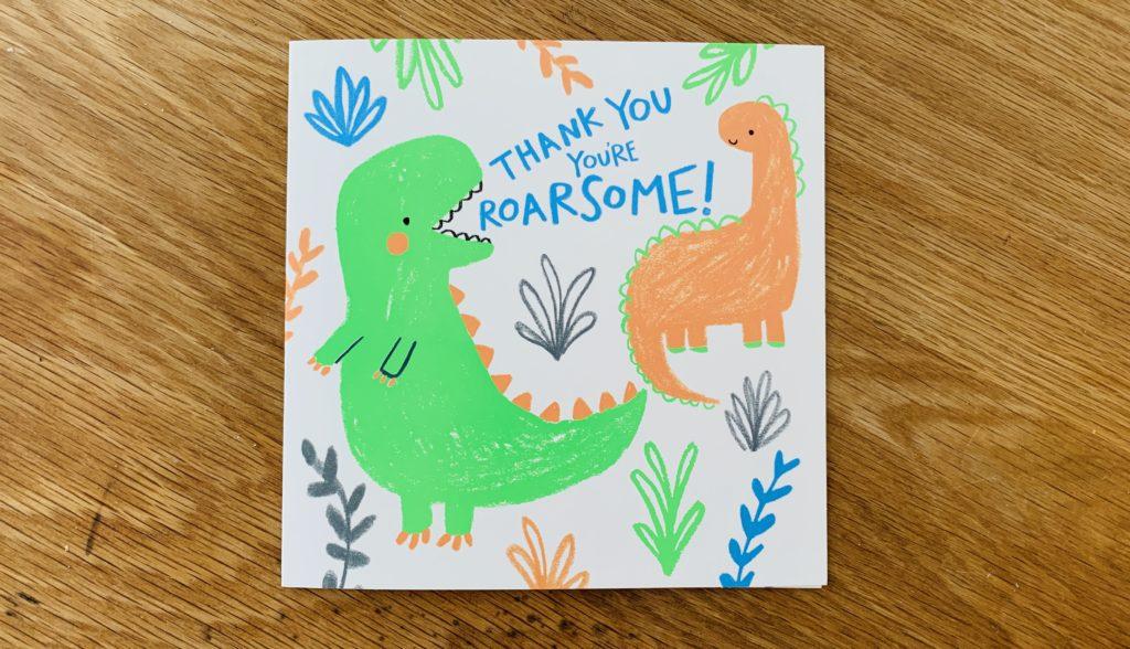 Dinosaur thank you card for a teacher