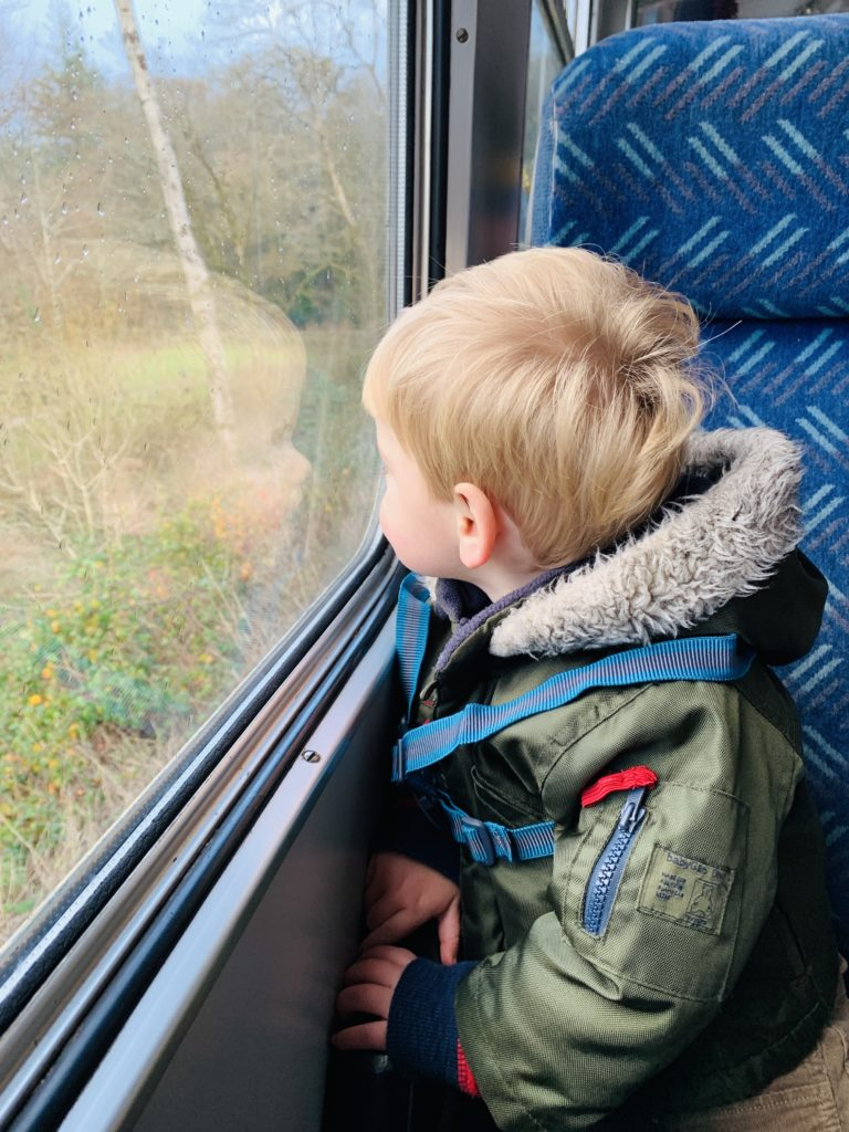 Toddler looking out the window of a train near Plymouth