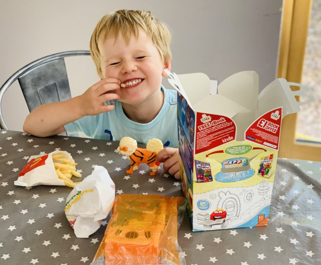 Four year old having McDonalds for tea during the summer holidays