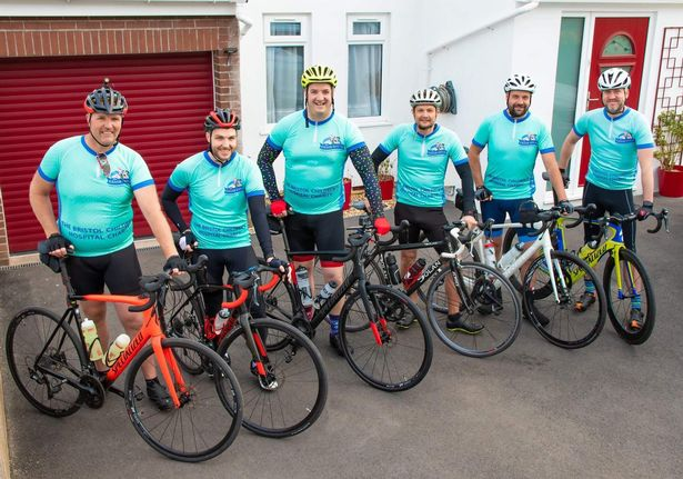 Cyclists about to embark on a charity bike ride for Bristol Children's Hospital