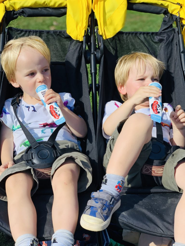 Toddlers enjoy ice cream at Farmer Palmer's