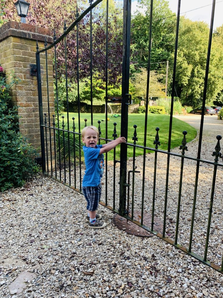 Toddler trying to get through gates at Greenwood Grange