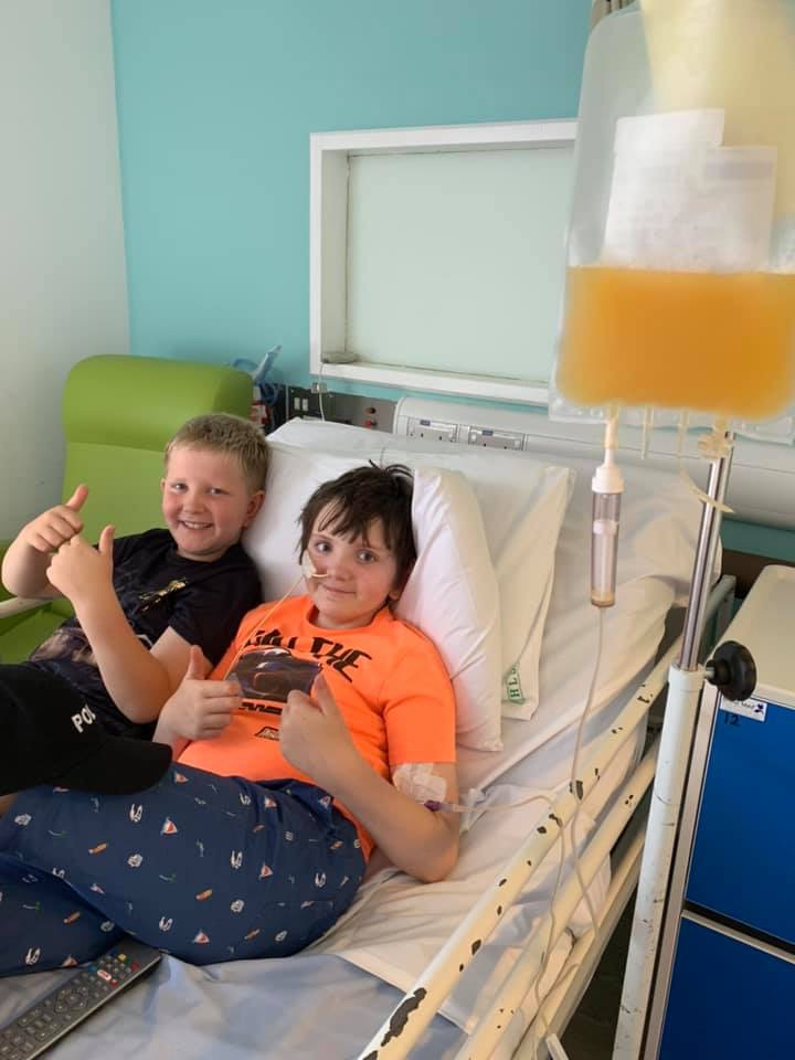 Oliver and Benjamin in hospital