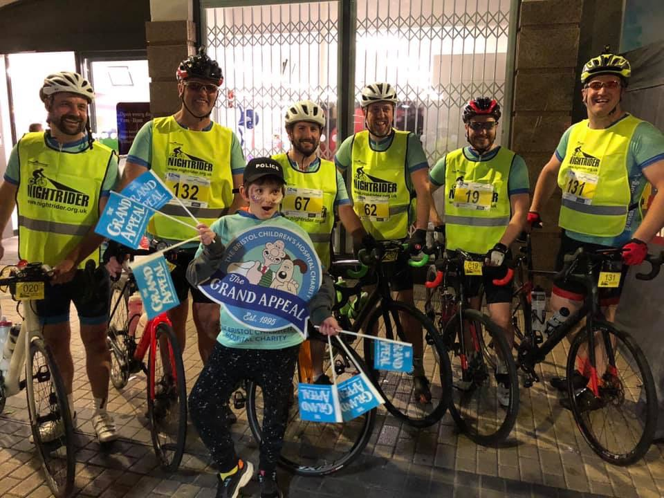 The cyclists before the Bristol night ride