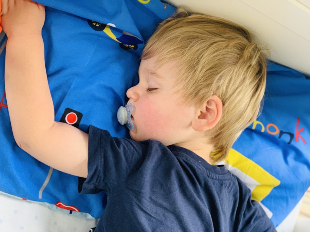 Toddler having a nap in his cot and not co-sleeping for once