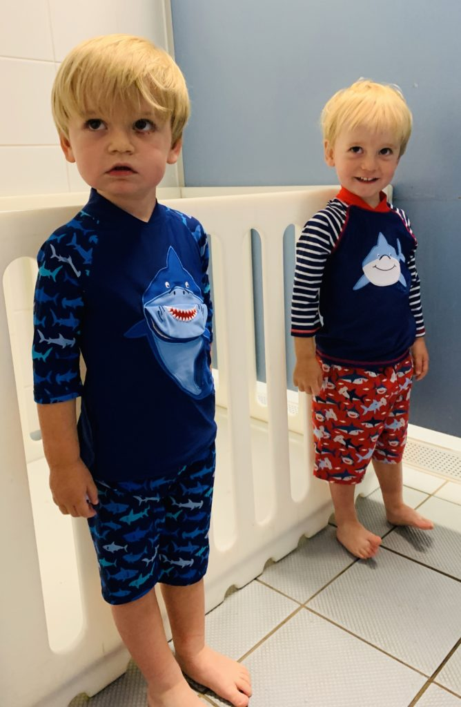 Twins ready for their first swimming lesson