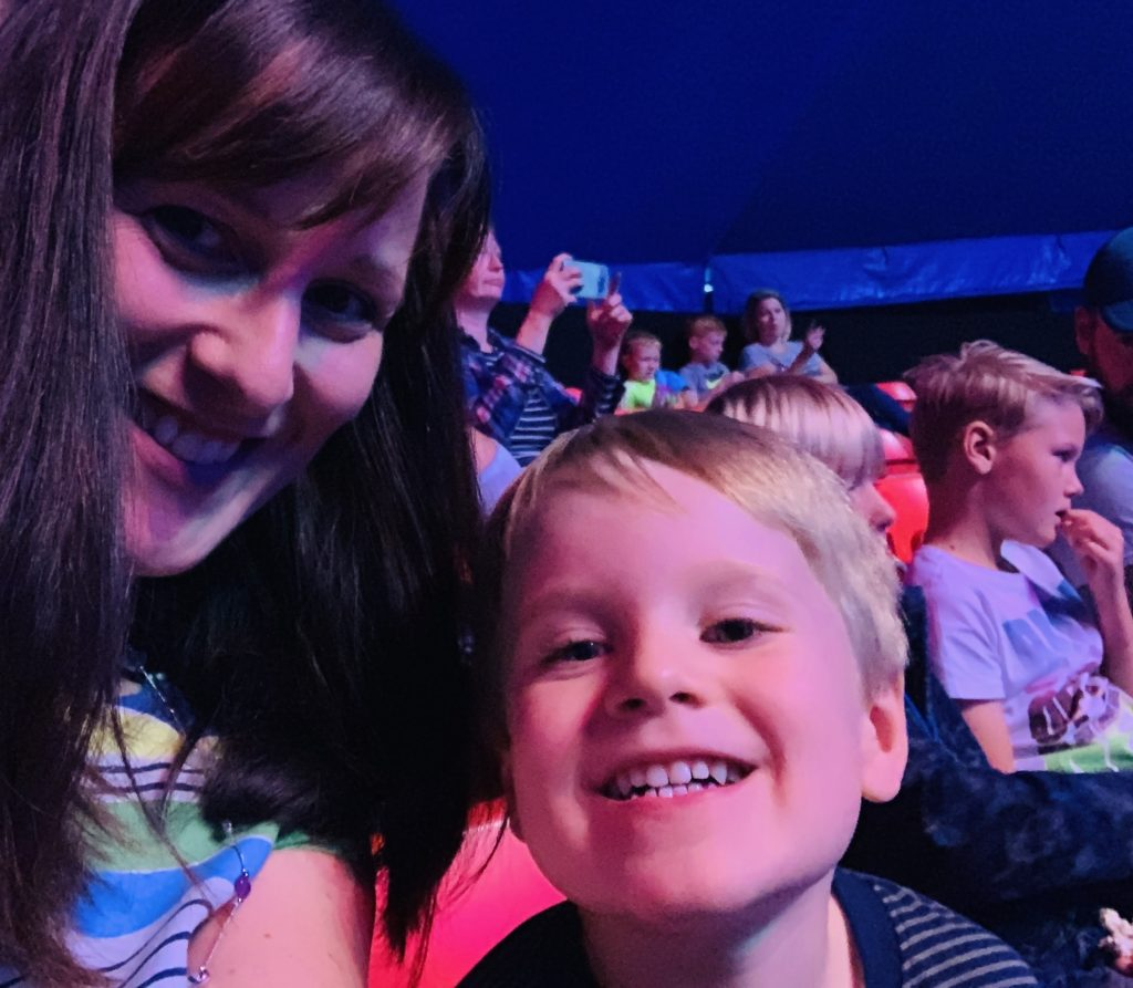 Four year old and mummy watching the circus