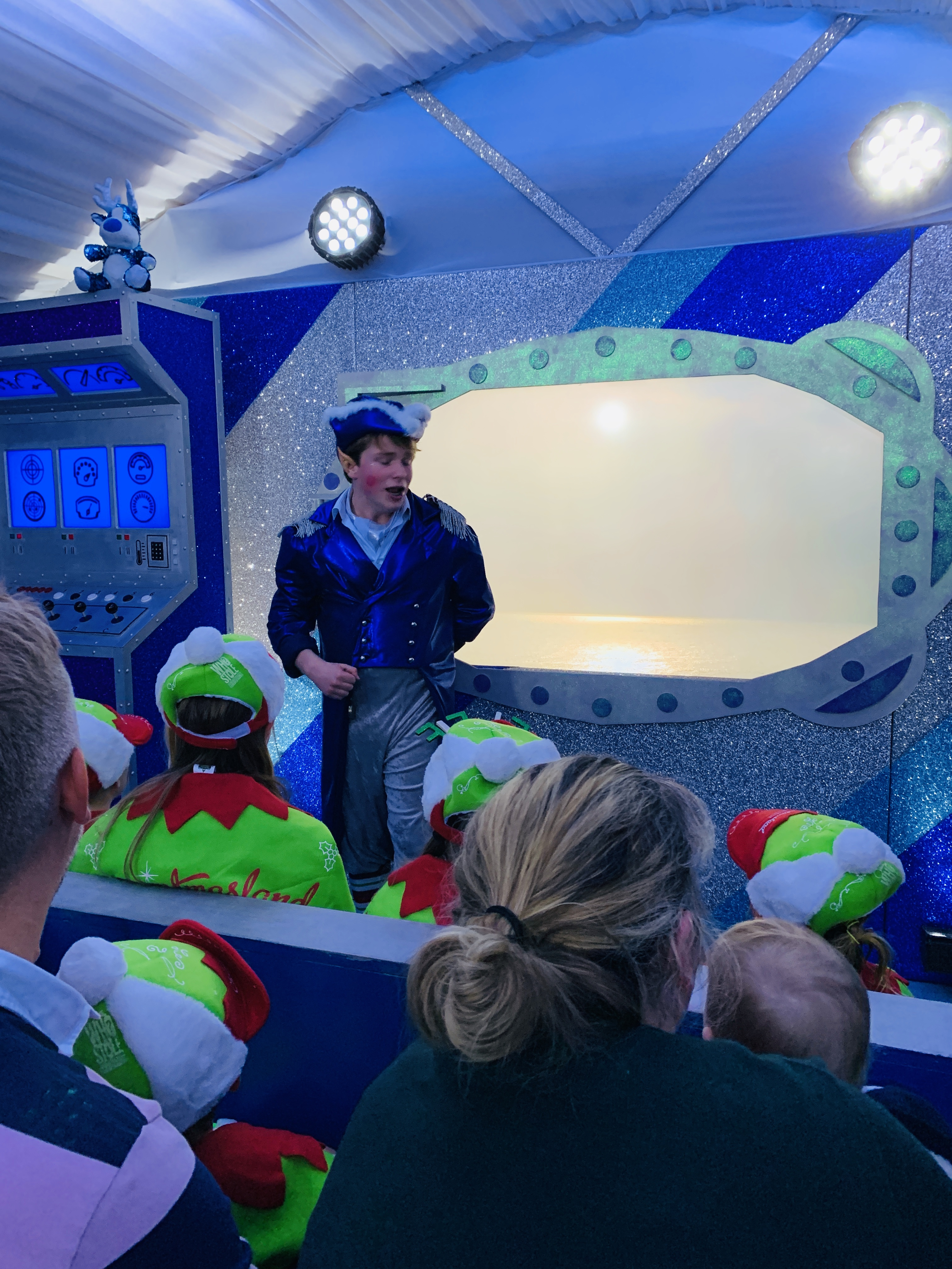 Inside a pretend submarine at Bluestone's Kingdom of the Elves