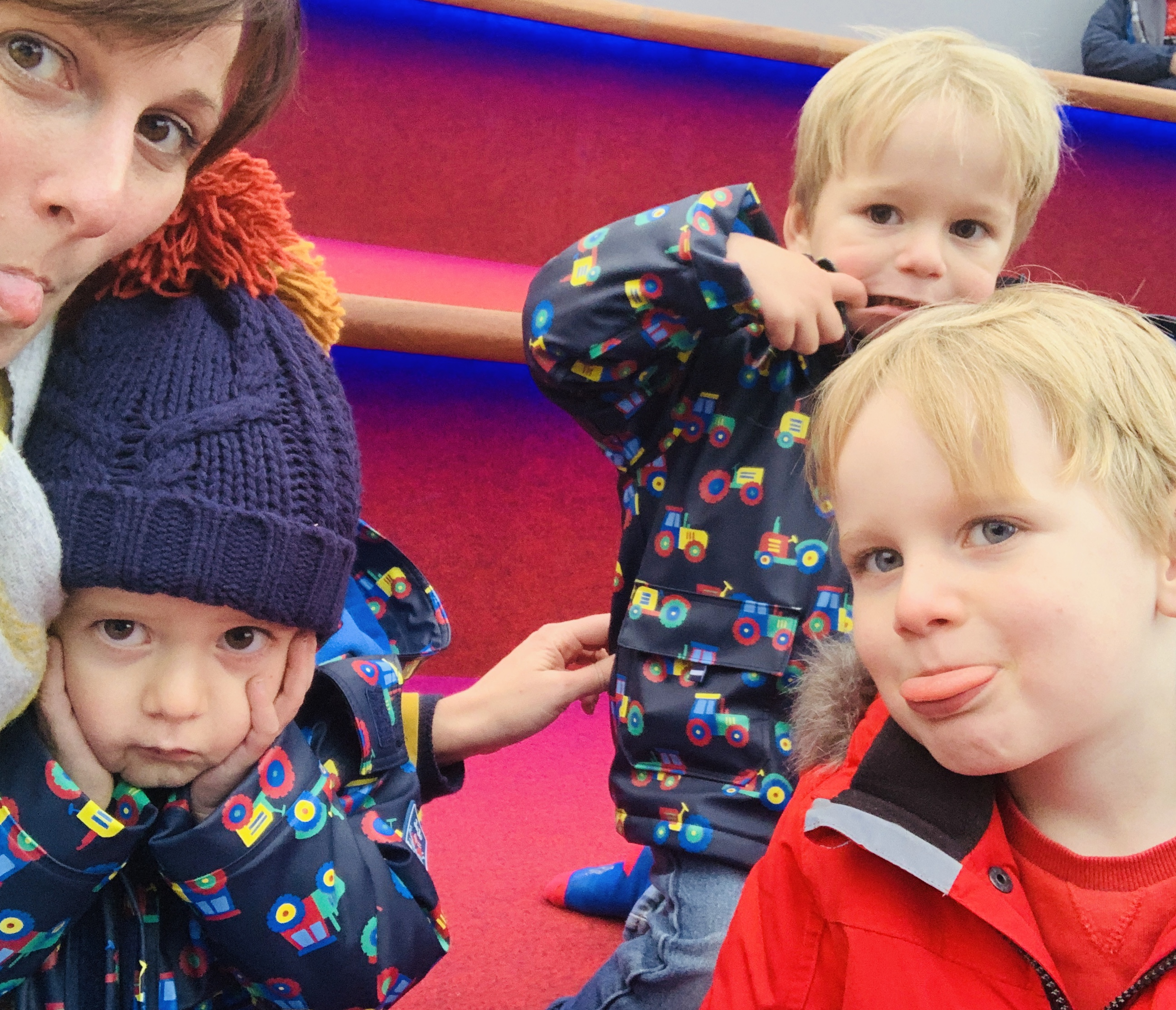 Boys pull a funny face for the camera at Christmasland