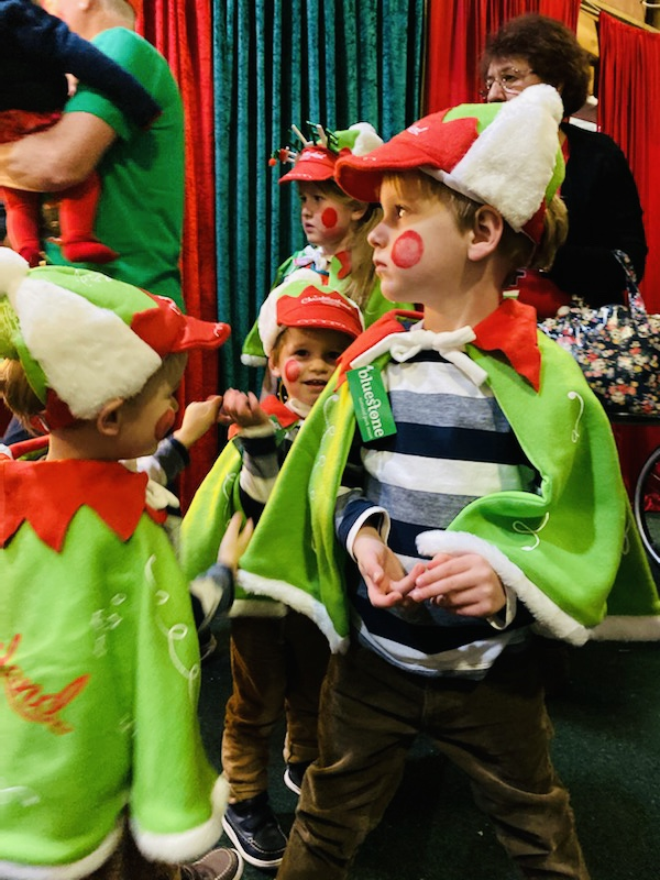 Brothers dressed as elves at Bluestone's Christmasland