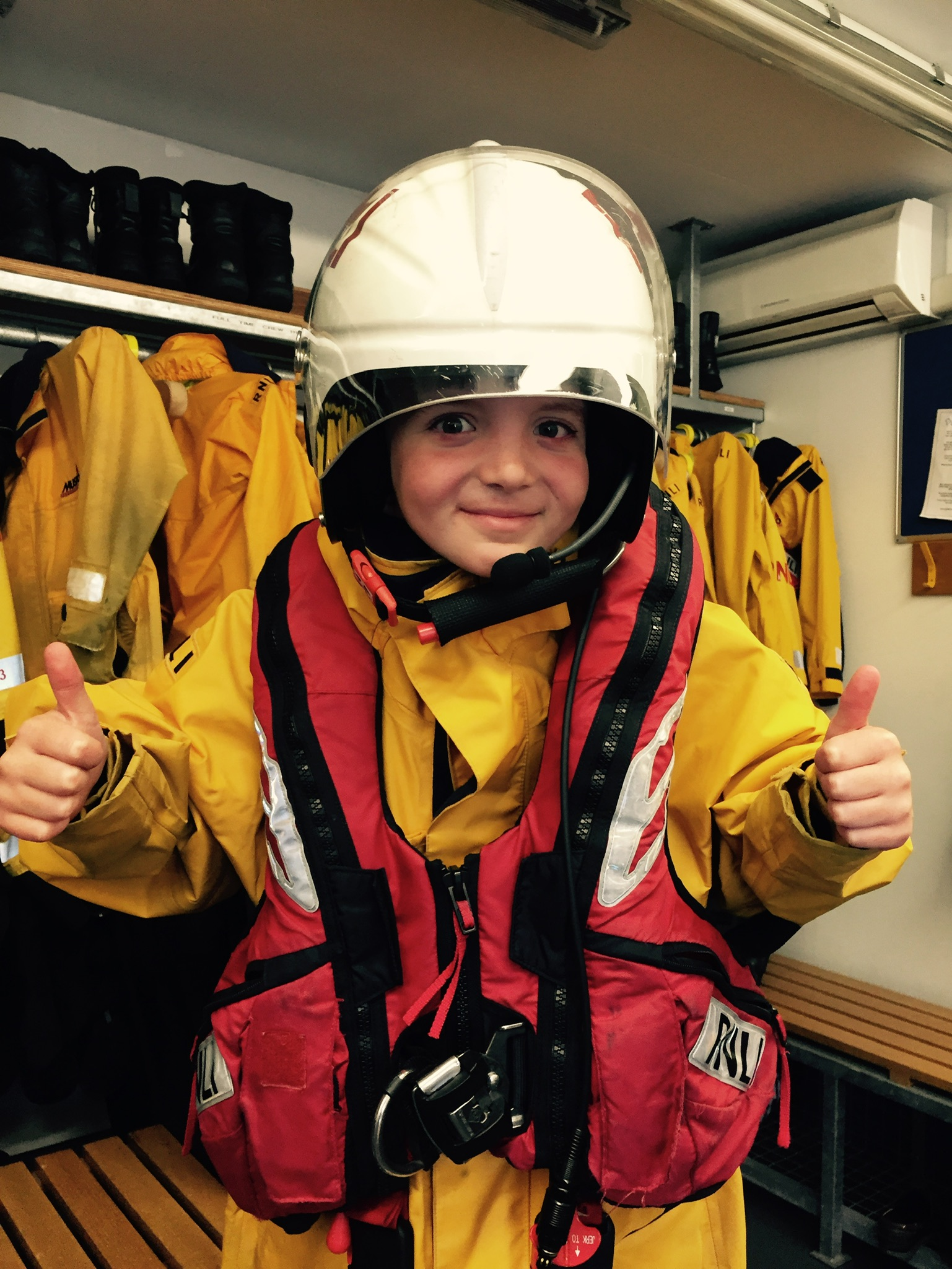 Oliver on the lifeboat