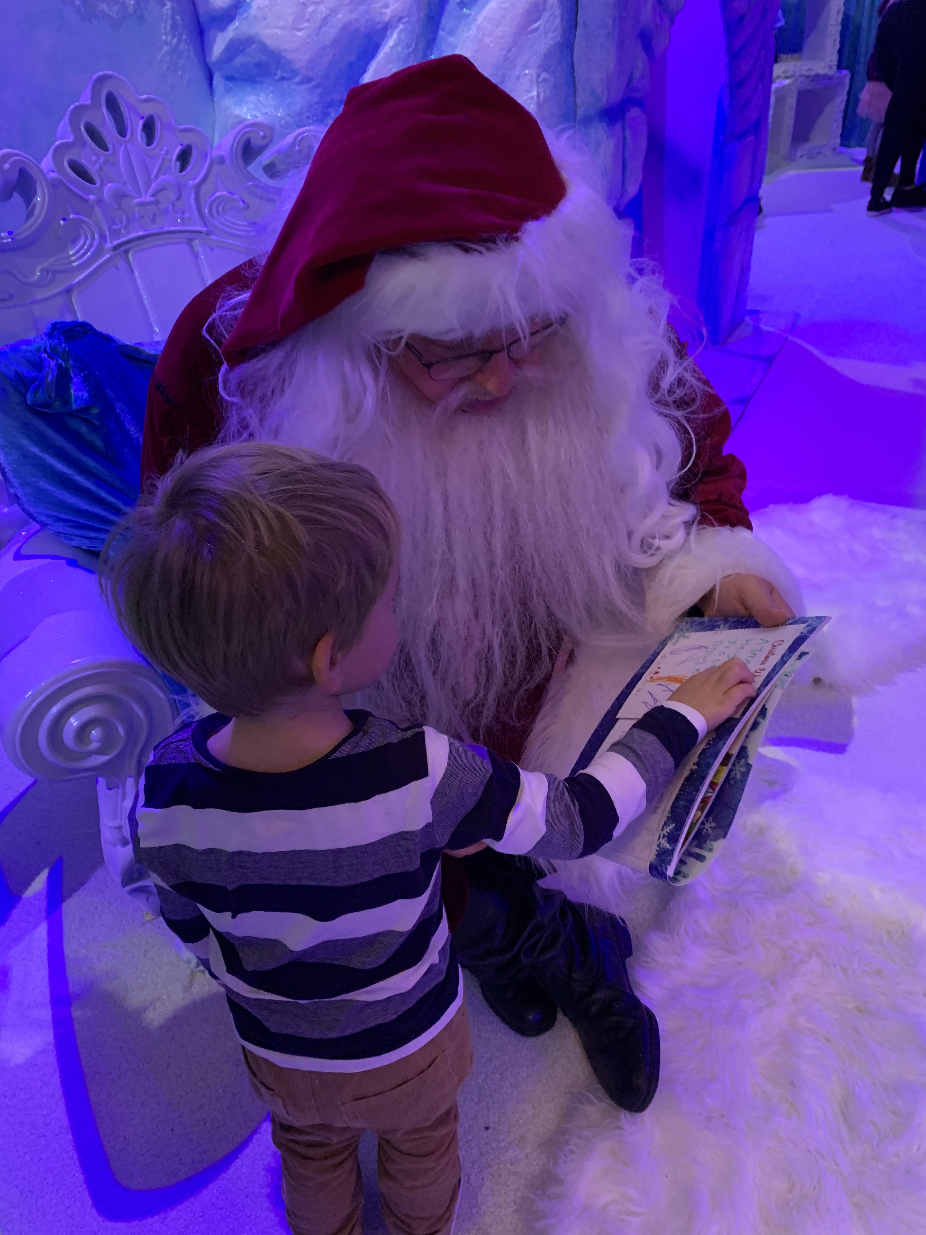 Toddler and Santa at Bluestone's Christmasland