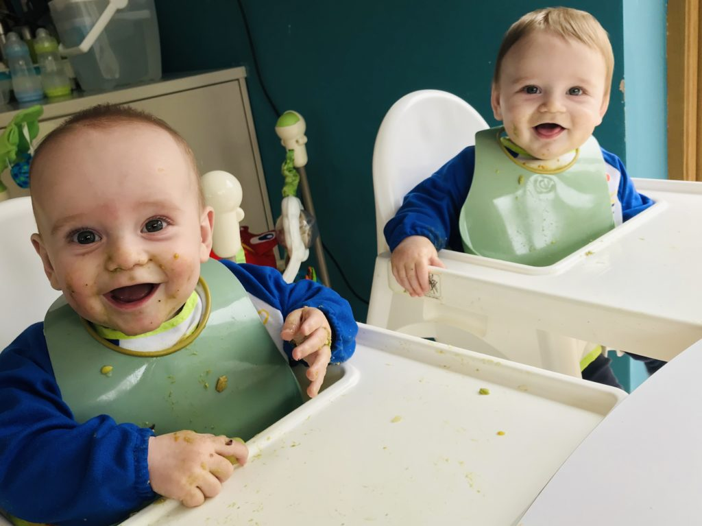The mess weaning twins makes is a nice baby milestone to be over and done with