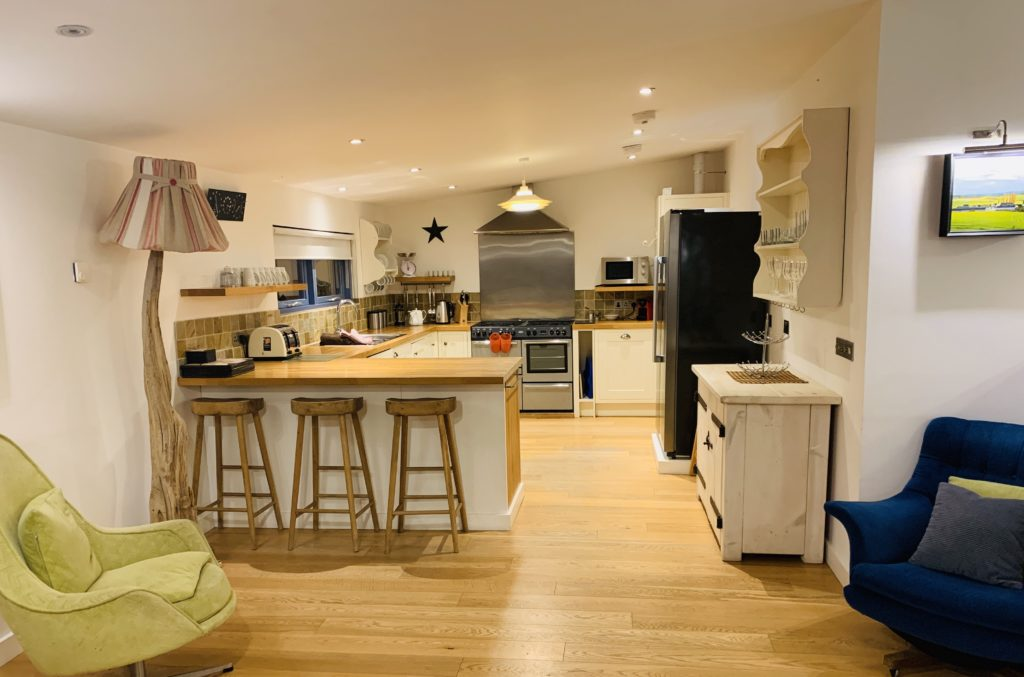 Kitchen at Tewynn eco lodge at The Park, Cornwall