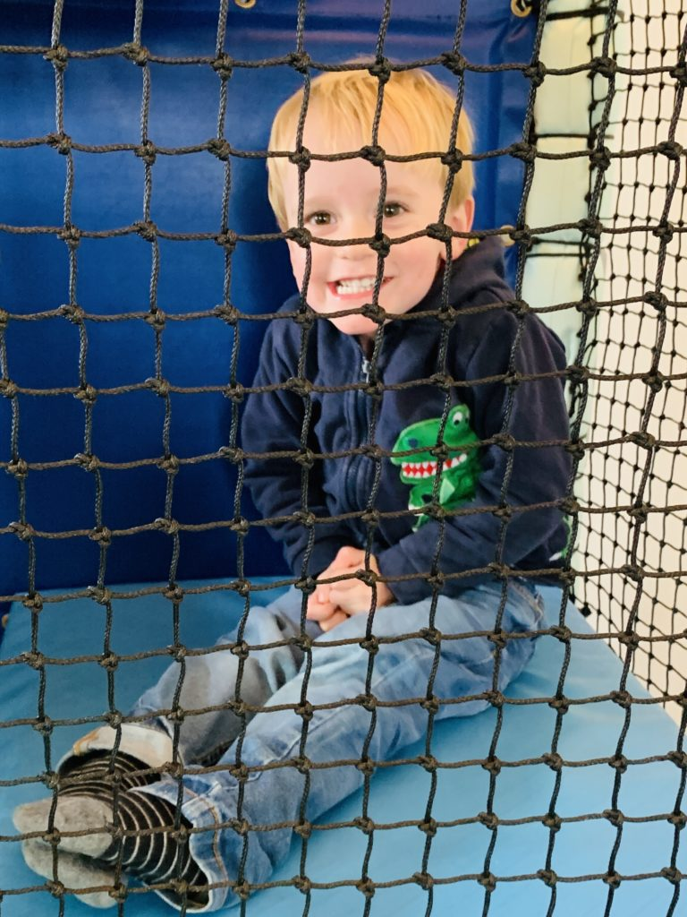 Toddler in the soft play at The Park Cornwall