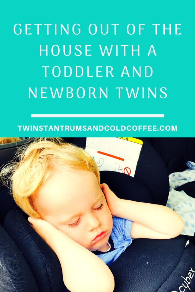PIN image for getting out of the house with a toddler and newborn twins