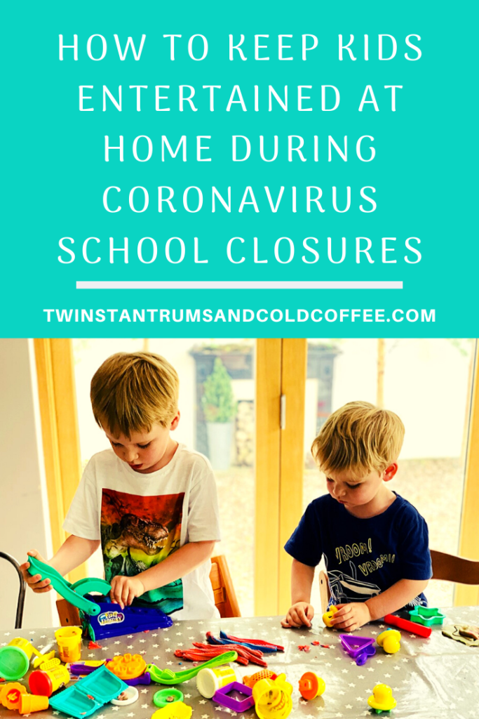PIN image on how to keep kids entertained at home during coronavirus school closures