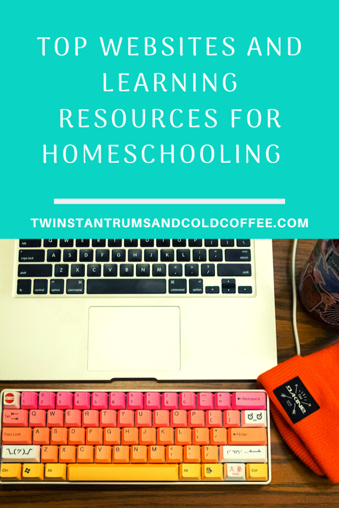 PIN image of computer used for homeschooling resources and website guide