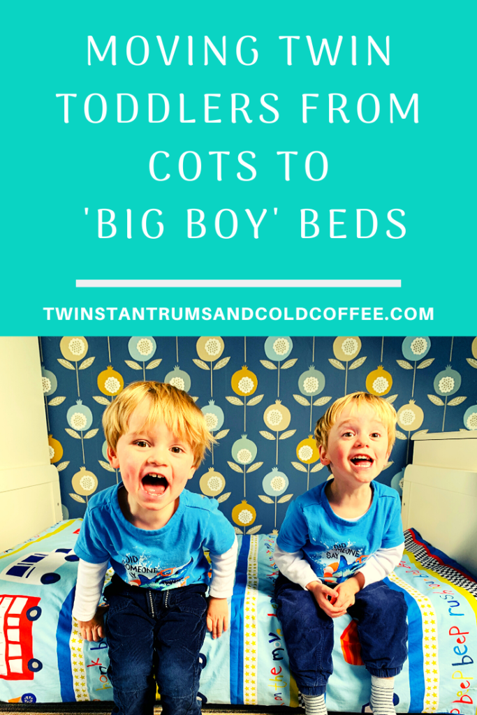 PIN image for moving twin toddlers from cots to beds