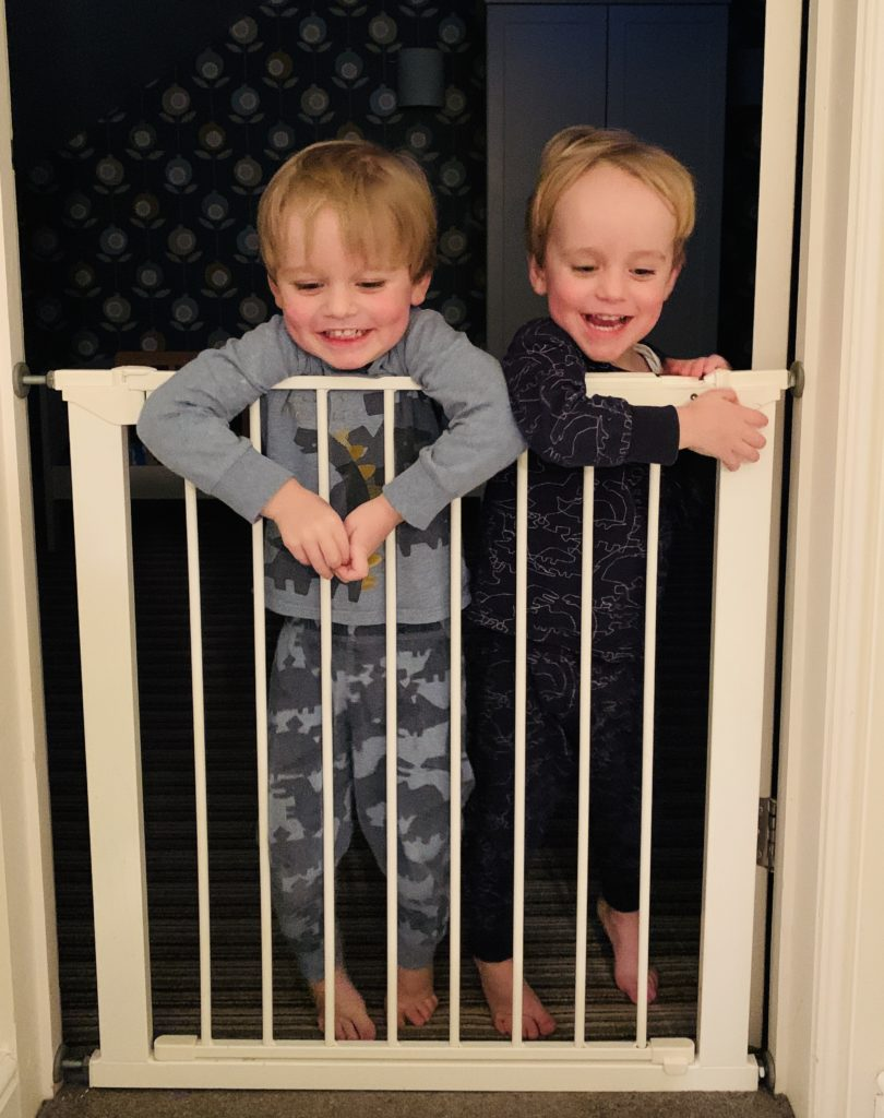 Twins leaning over a stair gate
